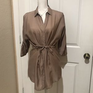 Forever 21-Button Down 3/4 Sleeve Longlengh Blouse